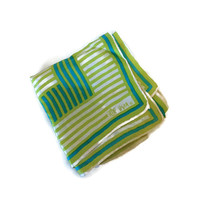 1960s Scarf / Vintage Vera Neumann Square Silk Striped Scarf, Chartreuse White Turquoise