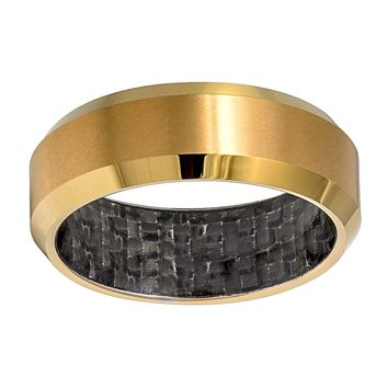 Yellow Gold IP Tungsten with Black Carbon Fiber Inside Inlay Men's Eternity Ring