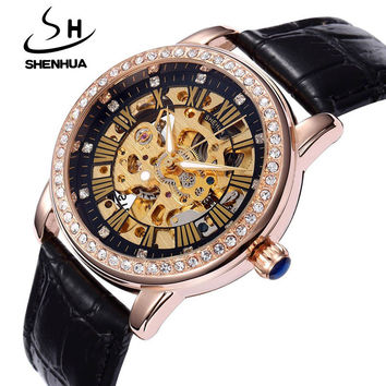 Shenhua Women's Mechanical Watches Top Brand Luxury Automatic Mechanical Skeleton Watches for Women Diamond Watches Waterproof