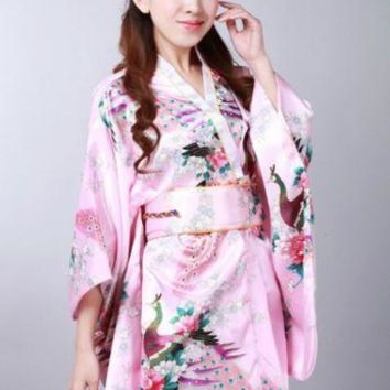 Vintage Retro Luxurious Japanese Garment Kimono Cosplay Costume Yukata Gown pink