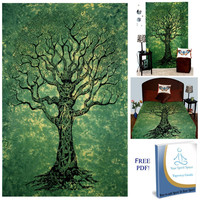 Mynelo Your Spirit Space (TM) Green Tree of Life Tapestry-Good Luck. Quality Home or Dorm Hippie Wall Hanging. The Ultimate Bohemian Tapestry Decoration.