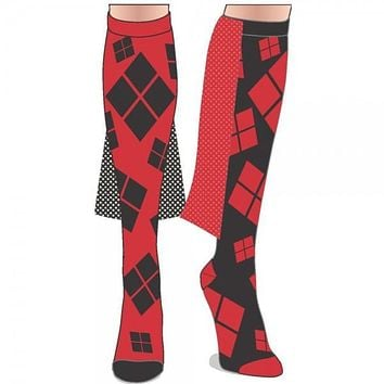 DC Harley Quinn Lame Cape Juniors Knee High Socks