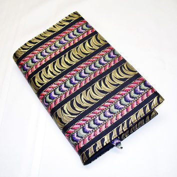 Large Size Fabric Paperback Book Cover with Matching Bookmark - For the Book Lover, Black Book Cover