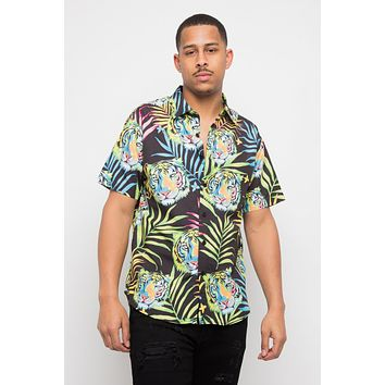 Tropical Floral Tiger Button Up