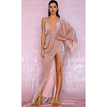 Kiss Me Now Rose Gold Sequin Asymmetric One Long Kimono Sleeve Drape Backless Cross Wrap V Neck Split Maxi Dress