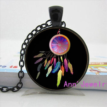 N71 W-093 Glass Dome cabochon lovely native American dreamcatcher necklace good dreams protection tribal pendant handmade jewelry