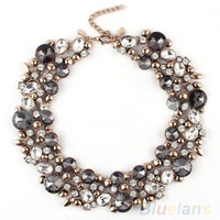 New Design Women's Gorgeous Bib Statement Black Mixed Crystal Necklace = 1947009988