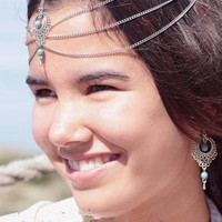 Silver Beaded Embelished Drop Caged Chain Hair Crown