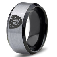 Oakland Raiders Ring Mens Fanatic NFL Sports Football Boys Girls Womens NFL Jewelry Fathers Day Gift Tungsten Carbide 378B