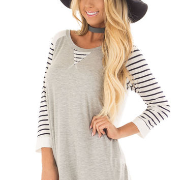 Heather Grey and Ivory Top with Stripe Contrast