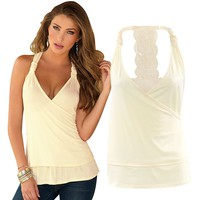 EBUYTIDE Women's Backless Lace Halterneck Tank Tops T-Shirt