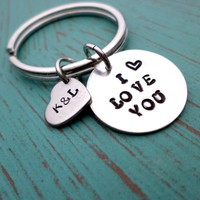 I Love You, You Belong With Me- Husband, Boyfriend Gift, Keychain Gift, Handstamped Men's Gift