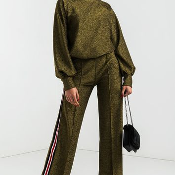 AKIRA Stripe Leg Stretchy Pleated Glitter Sweatpants in Olive