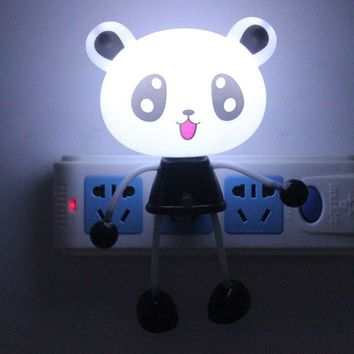 ZGX Safe Cartoon LED Night Lamp Intelligent light Sensor Bedroom kids Cute Hello Kitty automatic startup EU US Plug lovely bear