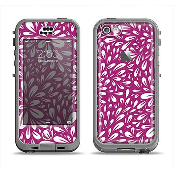 The Purple & White Floral Sprout Apple iPhone 5c LifeProof Nuud Case Skin Set