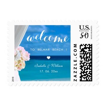 Elegant Floral Ocean Beach Wedding Welcome Postage