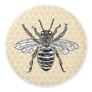 Honeycomb Honey Bee | Yellow Ceramic Knob