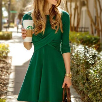 Cross Front Long Sleeve Flare Dress B0013480