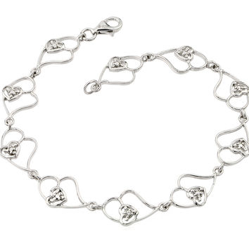 .925 Sterling Silver Rhodium Plated Open Multi Heart Clear Cubic Zirconia Tennis Bracelet: SOD