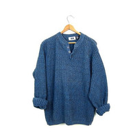 Chunky Blue Henley Sweater 90s Button Front Pullover Preppy Slouchy Textured Knit Sweater Oversized Vintage Mens Large