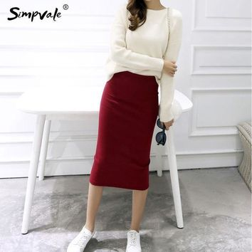 ESBET7 Pencil Skirts Women Stretched Knitted Skirt Women 2017 Fashion Mid Waist Slim Sexy Elastic Open Slit Office Skirts SIMPVALE