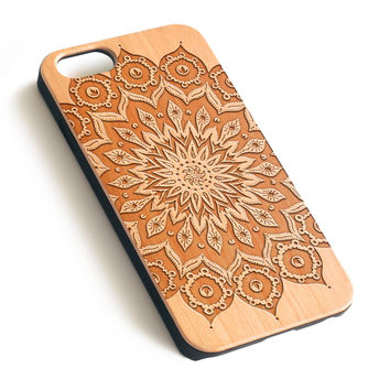 Mandala Natural wood iPhone case laser engraved iPhone case WA057