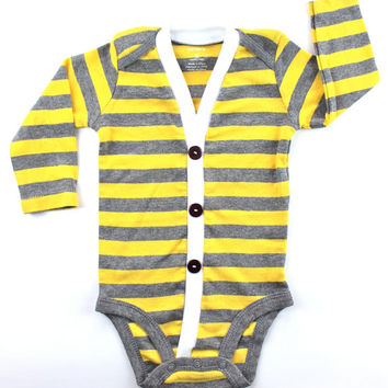 SALE - Baby Cardigan - Yellow Preppy Baby Boy Cardi - The Perfect Baby Shower Gift