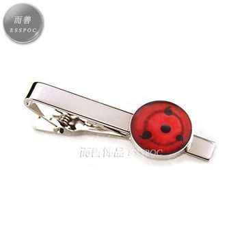 Naruto Sasauke ninja  Anime Metal Tie Clip  Sharingan Shippuuden Eyes Cabochon Glass Tie Claps Silver Plated Men Jewelry Valentines AT_81_8