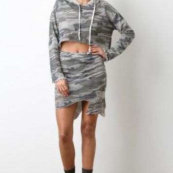 Asymmetrical Distress Terry Cloth Camo Skirt