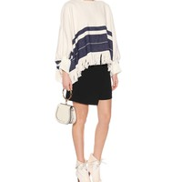 Fringed cotton and wool sweater