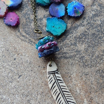 Feather talisman necklace Solar Quartz slices stalactite jewelry fuchsia indigo and teal energizing and purifying crown chakra necklace LE15