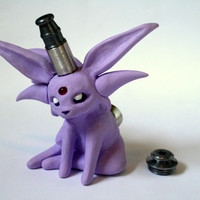Espeon Pipe / MADE to ORDER / Pokemon / Polymer Clay Sculpture / Tobacco Hand Pipe