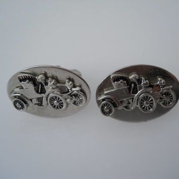 Antique Car Cufflinks Silver Tone Old Car Toggle Oval Cuff Links