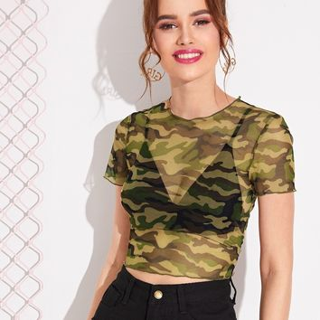 Camo Print Sheer Mesh Crop Top Without Bra