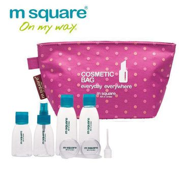 M Square Travel Cosmetic Bag Makeup Bag Organizer Cosmetics Wash Bag Organizer Refillable Bottles Set Perfume Spray Bottle