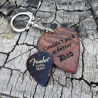 Caribbean Rosewood Big Guitar Pick - Novelty Size Key Ring - Handmade Laser Engraved - Both Sides