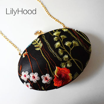 LilyHood 2017 Female Embroidery Mini Circle Clutch Evening Bag Women Fashion Trendy Floral Round Small Makeup Minaudiere Purse