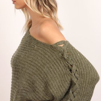 Lace up sleeve off the shoulder sweater