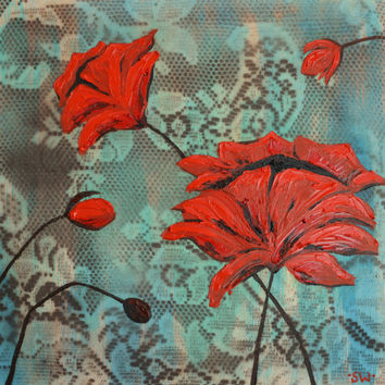 Dusky Red Poppies, Bohemian Lace, Original Painting, Vintage Inspired on Wood