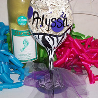 Painted Wine Glass Personalized Purple Diva Essential the Perfect Birthday Gift or Bridesmaid Gift