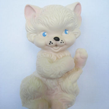 Vintage Rubber Squeak Toy Cat Kitten Kitty White Clean Still Squeaks Very Gently Used