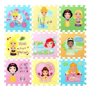DISNEY 31.5cm Winnie Princess Toys EVA Floor Puzzles Baby Play Mats for Children Toddler Crawling Educational 1cm Thick 9pcs