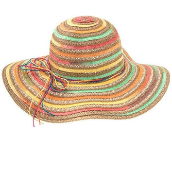 Womens Multi-Color Stripe Wide Brim Summer Beach Sun Hat - Beige
