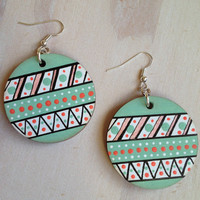 Mint Aztec Dangle Earrings, Large Pattern Silver Earrings, match your aztec nails to your earrings, So hot now. Wear With Shorts/Trilby