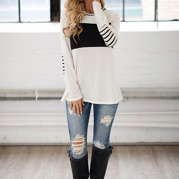Women's Long Sleeve Round Neck Elbow Patched Color Block Stripe Shirt Tops
