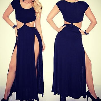 Black Cut-Out Double Side-Slit Maxi Dress