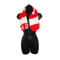 Upcycled Red and White Short Wool Scarf with Snap Buttons and Red Hearts Bow