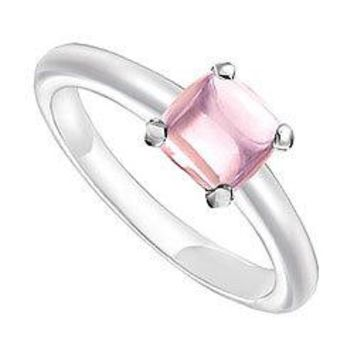 Pink Chalcedony Ring : 14K White Gold - 5.00 CT TGW