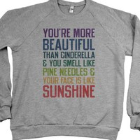 You're More Beautiful (Sweater)-Unisex Heather Grey Sweatshirt