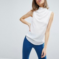 ASOS Sleeveless Top with Ruched High Neck at asos.com